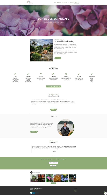 Homepage capture of Bainbridge Botanicals website