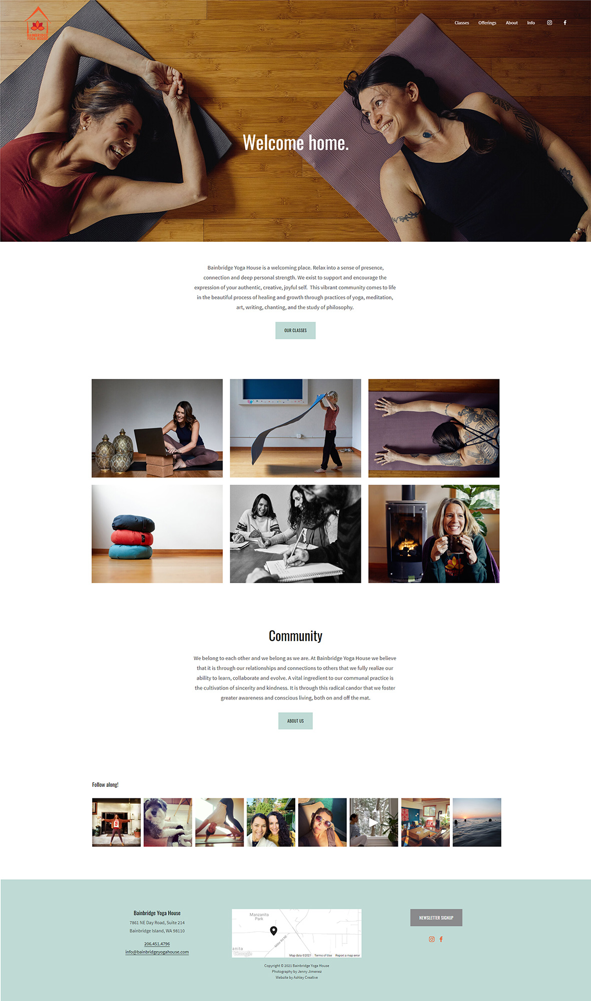 Bainbridge Yoga House homepage capture