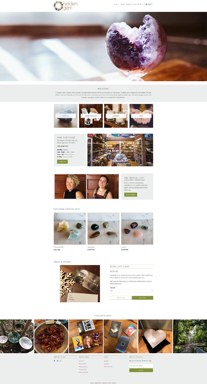 Homepage capture of Hidden Gem website