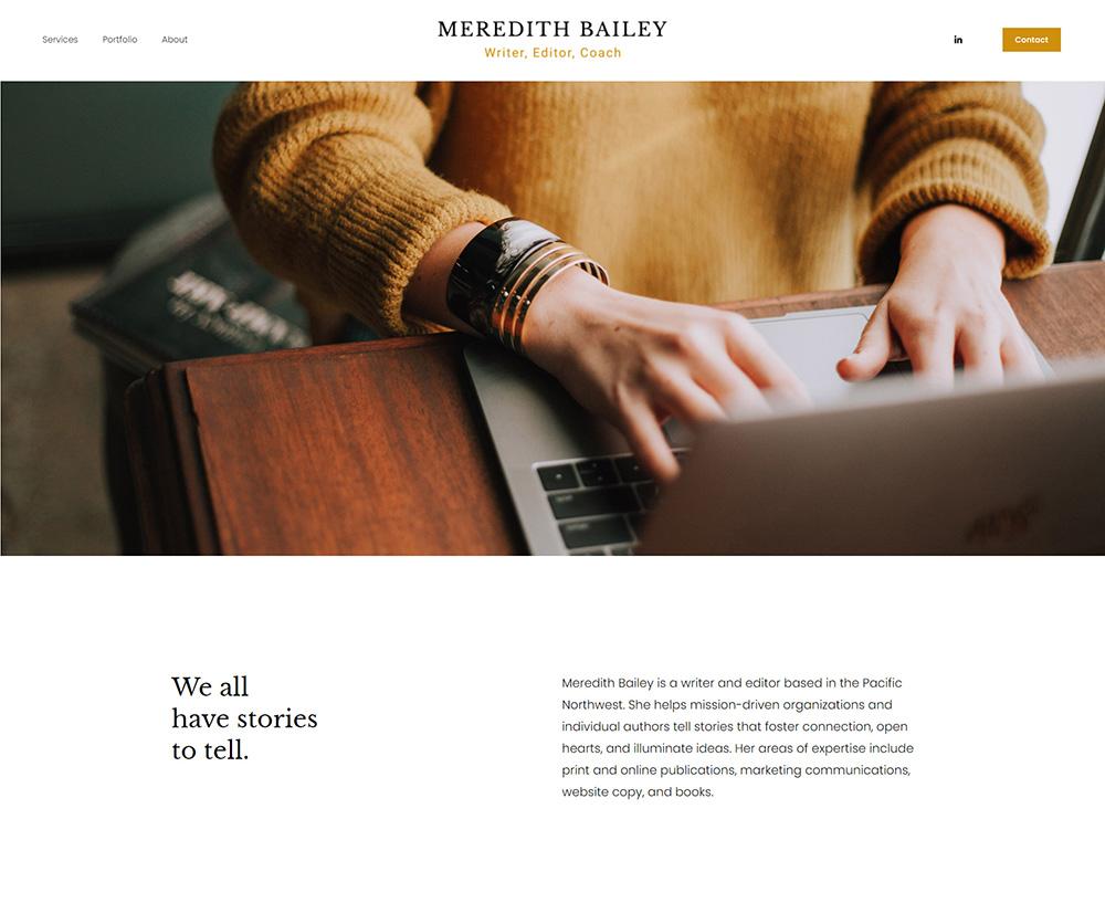meredithbailey.net homepage screenshot