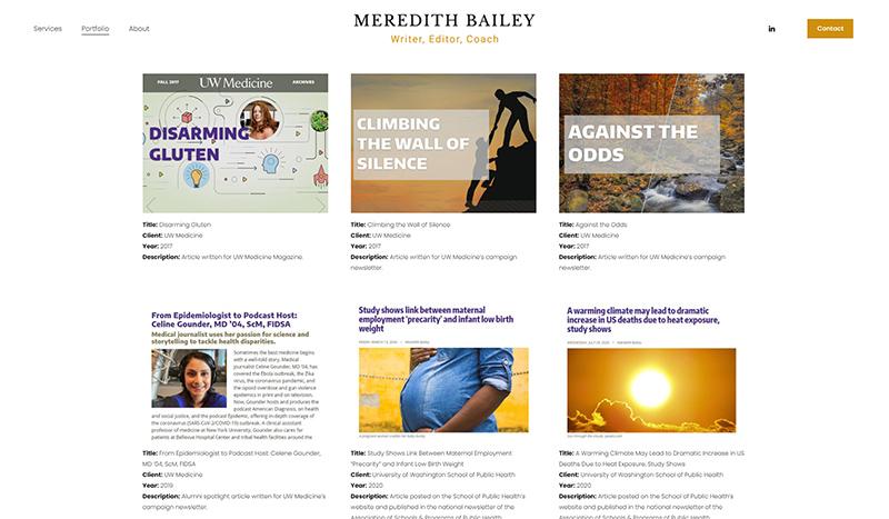 Meredith Bailey portfolio page capture