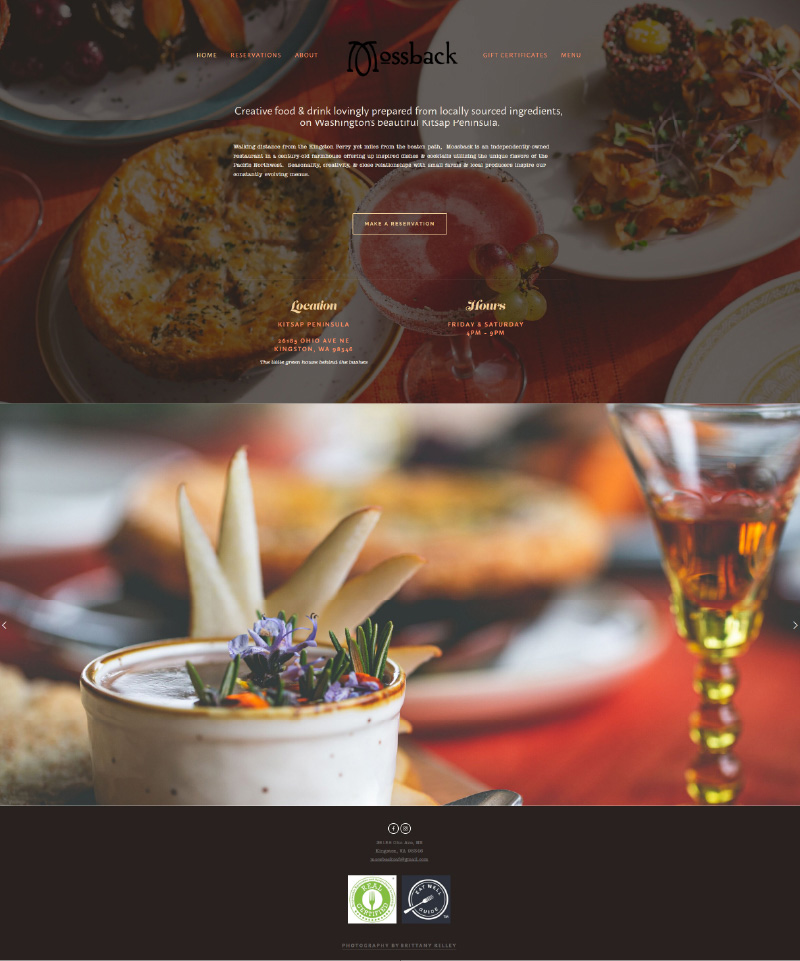 Homepage capture of Mossback website
