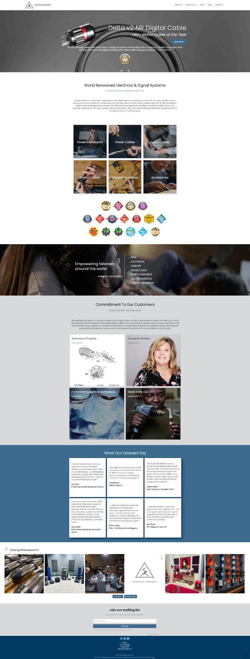 Homepage screen capture of Shunyata website