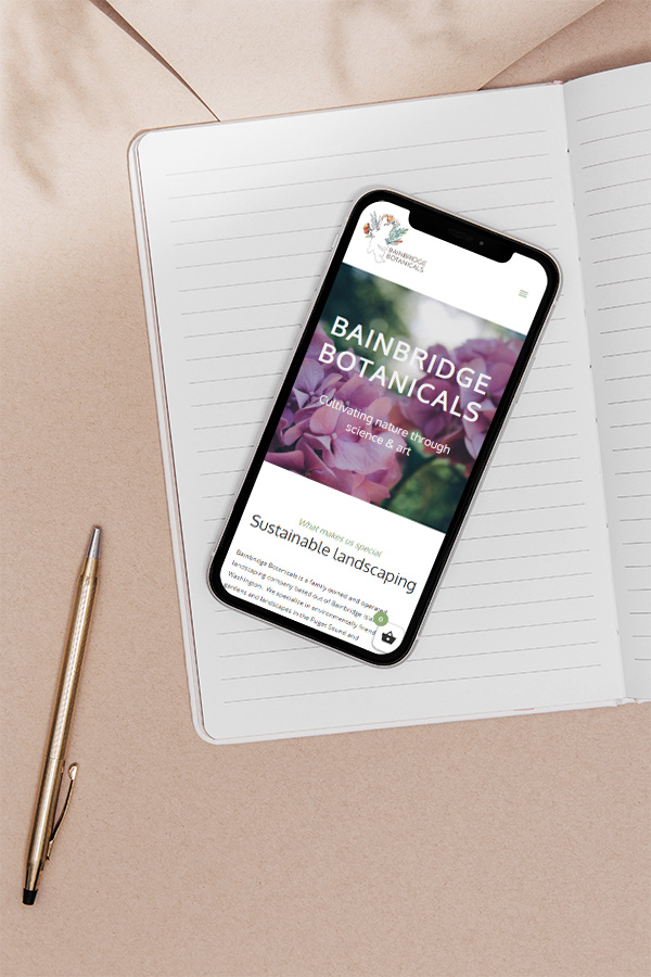 Cell phone mockup of Bainbridge Botanicals website