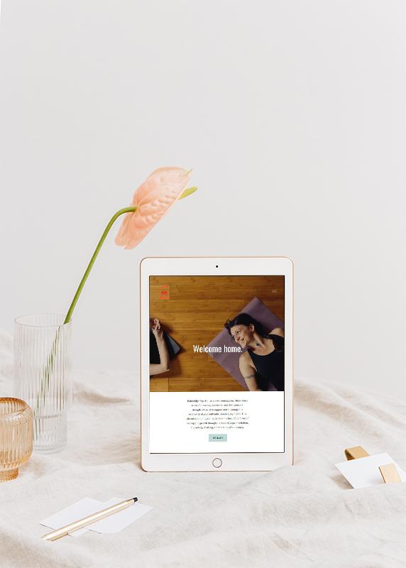 Tablet mockup of Bainbridge Yoga House website